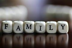 Famille d'amour de cube en textes Photo libre de droits