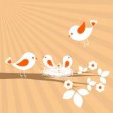 Famille d'oiseaux Image libre de droits