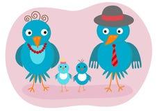 Famille d'oiseaux heureuse Images libres de droits