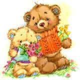 Famille d'ours de jouet Fond pour l'anniversaire de félicitations Illustration d'aquarelle Photographie stock libre de droits