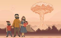 Famille dans des masques de gaz sur le fond d'explosion nucléaire Scène apocalyptique futuriste Illustration plate de vecteur illustration stock