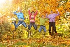 Famille dans la forêt d'automne images libres de droits