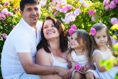 Famille dans la roseraie Photos libres de droits