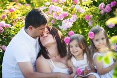 Famille dans la roseraie Photos stock