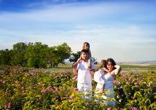 Famille dans la roseraie Image libre de droits