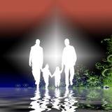 Famille dans le dessin de jardin   Photographie stock libre de droits