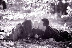 Famille dans les bois images stock