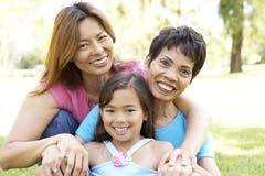 Famille de 3 rétablissements ayant l'amusement dans le stationnement Photographie stock libre de droits