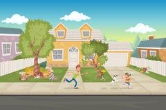 Famille de bande dessinée devant une maison Voisinage de banlieue illustration libre de droits