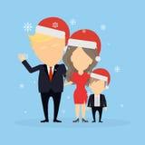 Famille de bruit de pas dans des chapeaux de Santa illustration libre de droits