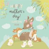 Famille de cerfs communs de bande dessinée Mère et chéri Animaux mignons pour le jour de mères Animaux maman et bébé illustration stock
