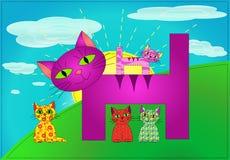 Famille de chats de patchwork (vecteur) Photographie stock