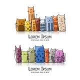 Famille de chats drôle, croquis pour votre conception illustration stock