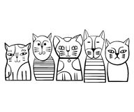 Famille de chats monochrome mignonne Illustration de vecteur de dessin animé Photos stock