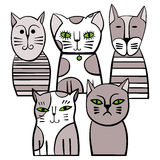 Famille de chats monochrome mignonne Illustration de vecteur de dessin animé Photo stock