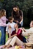 Famille de cinq interraciale ayant le pique-nique dans le stationnement image libre de droits