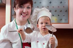 Famille de cuisinier Image stock