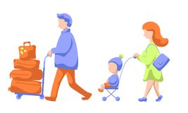 Famille de déplacement avec le chariot à enfant et à bagage, illustration plate moderne de vecteur Famille laissant aux vacances  illustration libre de droits