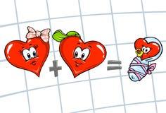 Famille de dessin animé de coeurs Images libres de droits