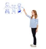 Famille de dessin de fille dans le ciel Images stock