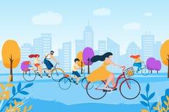 Famille de femme d'homme de bande dessinée faisant un cycle en parc de ville illustration de vecteur