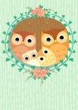 Famille de hiboux Image libre de droits