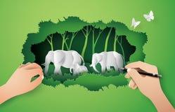 Famille de jour d'éléphant du monde d'éléphant dans la forêt, Photo stock