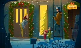 Famille de Joyeux Noël Photos stock