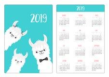 Famille de lama d'alpaga Année de la disposition de calendrier de poche de Baby Simple de père de mère nouvelle 2019 La semaine c illustration stock