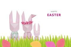 Famille de lapins d'origami de Pâques Photographie stock