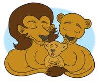 Famille de lion se situant dans l'herbe illustration stock