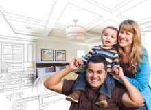 Famille de métis avec le bébé au-dessus du dessin et de la photo de chambre à coucher photographie stock