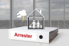 Famille de maison d'intercepteur d'allégement de reliure de bureau image libre de droits