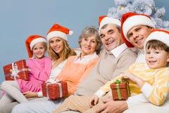 Famille de Noël Photographie stock libre de droits