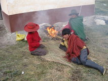 Famille de Péruviens d'indigence Image libre de droits