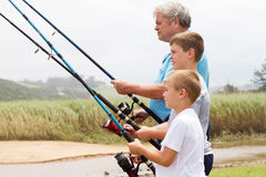 Famille de pêche Photos libres de droits