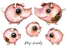 Famille de porcs d'artoon de ¡ de Ð illustration de vecteur
