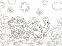 Famille de poulet avec un chariot des oeufs de pâques illustration stock
