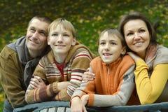 Famille de quatre heureuse Image libre de droits