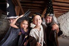 Famille de quatre sorciers Photos stock