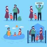 Famille de réfugié avec l'enfant et le petit bébé illustration de vecteur