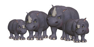Famille de rhinocéros de bande dessinée Photographie stock