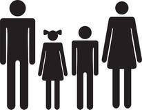 Famille de silhouette Femme d'icône, homme, garçon, fille Image libre de droits