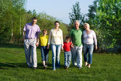 Famille de six heureuse Images libres de droits