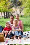 Famille de sourire ayant un pique-nique Photographie stock libre de droits