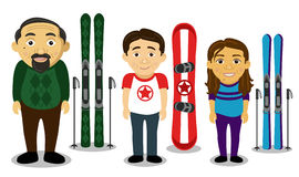 Famille de sports d'hiver Photographie stock