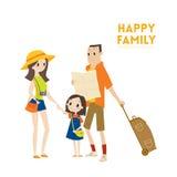 Famille de touristes urbaine moderne heureuse avec prêt pour l'illustration de bande dessinée de vacances Photo stock
