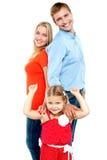 Famille de trois caucasienne, d'isolement Photographie stock libre de droits