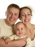 Famille de trois d'isolement Images libres de droits