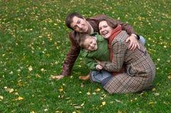 Famille de trois heureuse Photographie stock libre de droits
